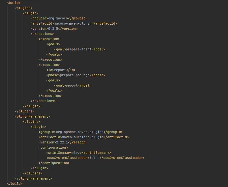 configurazione dei due plugin nel file pom.xml di Maven